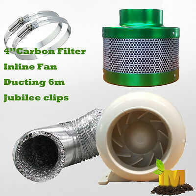 AU109.55 • Buy 4inch Ventilation Kit Inline Fan Carbon Filter Ducting Hydroponics Extractor