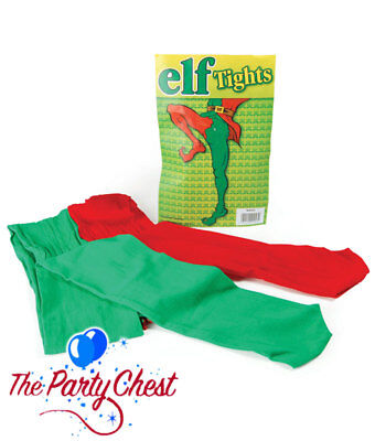RED AND GREEN BI-COLOURED TIGHTS Christmas Elf Jester Costume Tights BA043 • 4.25£