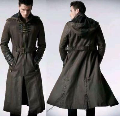 Men Hooded Steampunk Gothic Coat Military Real Leather Trench Coat Jacket New  • 139£