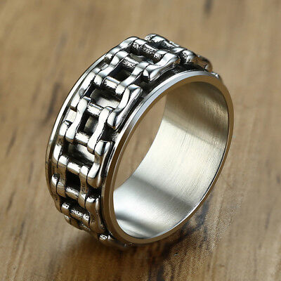 Men Wedding Ring Spinning Bicycle Link Chain Band Stainless Steel Biker Jewelry • 3.21£