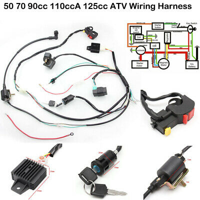$21.99 • Buy 50cc-125cc 70 90cc CDI Wire Harness Stator Assembly Wiring Kit ATV Electric Quad