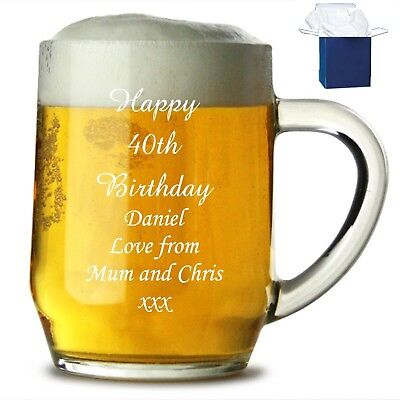 Personalised Engraved Pint Glass Tankard 18th 21st 30th Birthday Free Gift Box • 9.98£