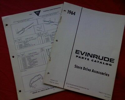 AU18 • Buy 1964 Evinrude Outboard Motor Accessories Inc Stern Drive SPARE PARTS MANUAL Book
