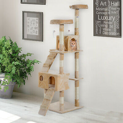 Cat Tree Kitty Activity Play Center Scratching Scratcher House Furniture 170CM • 42.99£