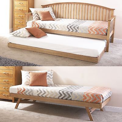 Madrid Wooden 3ft Single Day Bed Frame & Trundle Guest Traditional Bedstead Oak • 245.49£