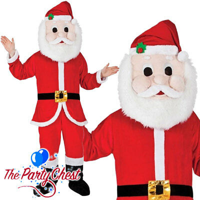 ADULT SANTA CLAUS MASCOT COSTUME Christmas Big Head Santa Fancy Dress Outfit • 39.95£