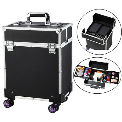 $68 • Buy 360° Professional Aluminum Rolling Makeup Case Travel Flight Cosmetic Train Box