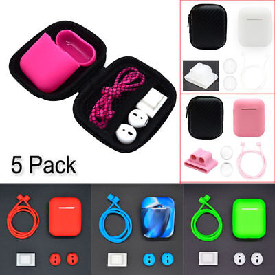 $ CDN4.72 • Buy For Apple AirPods Accessories Silicone Cover Case+Anti Lost Strap+Ear Cover Hook