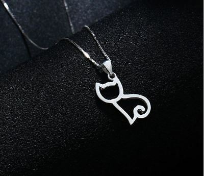 £3.29 • Buy Cat Charm Pendant  925 Sterling Silver Chain Necklace Women Jewellery Love Gifts
