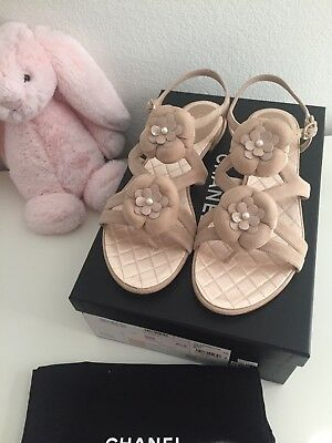 b76527079 New Auth Chanel Beige Suede Leather Sandals Camellia Flower W  Pearl Size 38  • 599.00