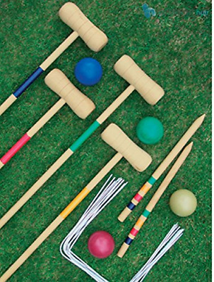 Crystals Traditional Garden Wooden Mallet Balls 4 Player Croquet Game Set For By • 25.99£