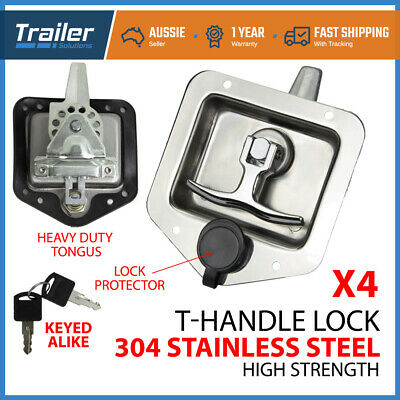 AU77.50 • Buy 4x T LOCK T HANDLE LOCK RECESSED STAINLESS KEYED ALIKE TRAILER CARAVAN TOOLBOX