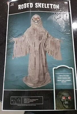 $58.99 • Buy Robed Skeleton W/lighted Eyes 5ft Tall Halloween Monk Costume Nib Bendable Arms