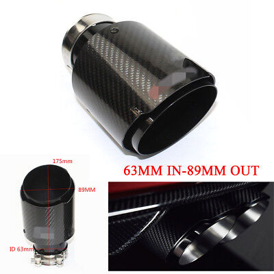 $ CDN62.60 • Buy Real Carbon Fiber Glossy Black Car Exhaust Pipe Tips Muffler 63MM IN-89MM OUT