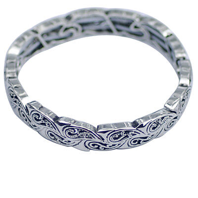 $ CDN13.35 • Buy Lia Sophia Woman Jewelry Stretch Bangle Vintage Silver Tone Adjustable Bracelet