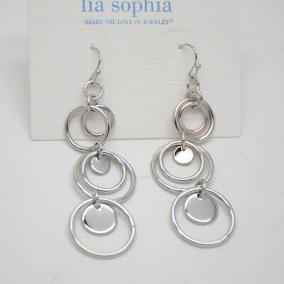$ CDN10.09 • Buy Lia Sophia Jewelry Panorama Silver Tone Circle Round Link Hoop Drop Earrings