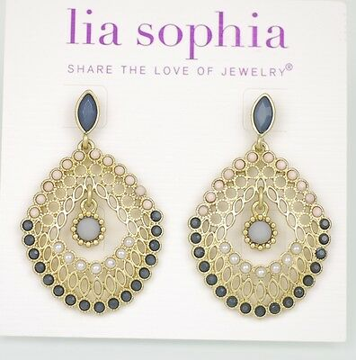 $ CDN10.88 • Buy Lia Sophia Signed Jewlry Gold Matte Tone Stud Earrings Drop Dangle Free Shipping