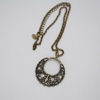 $ CDN9.69 • Buy Lia Sophia Jewelry Vintage Brass Tone Cut Crystal Circle Hollow Pendant Necklace