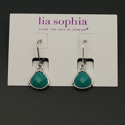 $ CDN10.37 • Buy Lia Sophia Jewelry Polished Silvertone Earrings Blue Beads Cute Drop Dangle Hoop