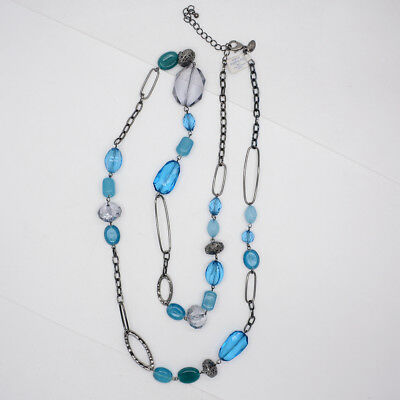 $ CDN12.21 • Buy Retired Lia Sophia Jewelry Black Chain Blue Beads Long Necklace Chain For Women