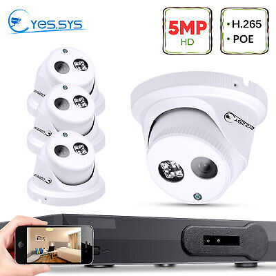 Eyes.sys H.265 4x 5MP HDMI Dome IP CCTV Camera 4CH POE NVR Home Security System • 177.75£