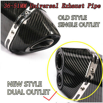 $94.90 • Buy Universal Motorcycle Glossy Dual-outlet Exhaust Muffler Tail Pipe Tip 470mm