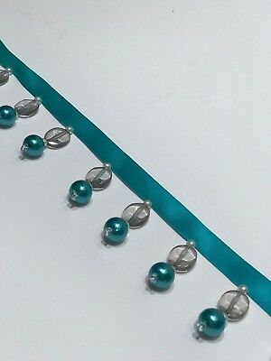 Beaded Trimming Turquoise Flat Bead & Ball Lampshade Curtain Blinds Cushions • 3£