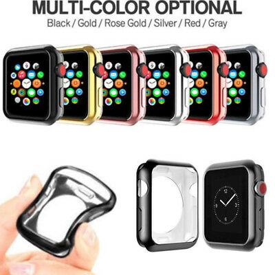$ CDN2.88 • Buy For Apple Watch Series 4/3/2/1 Soft Silicone Plating Protector Case 38/42/44mm