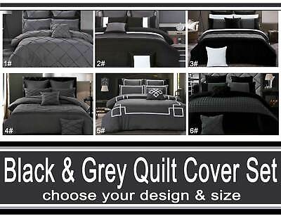 AU28.50 • Buy Black Charcoal Grey Quilt Cover Floral Striped Diamond Pintuck Doona Cover Set