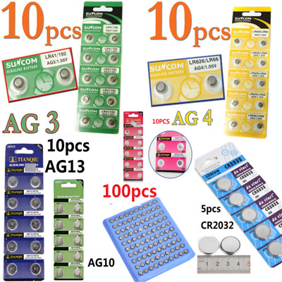 AU3.99 • Buy 100 Pcs AG4 AG3 AG10 AG13 CR2016 CR2032 3V Watch Button Coin Cell Battery 1.55V