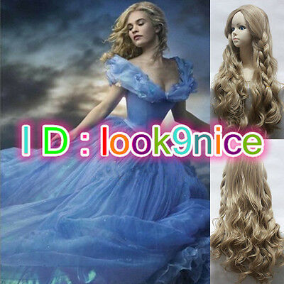 Hot Movie Cinderella Princess Long Flaxen Curly Wavy Braid Wig Cosplay Hair Wig • 7.96£