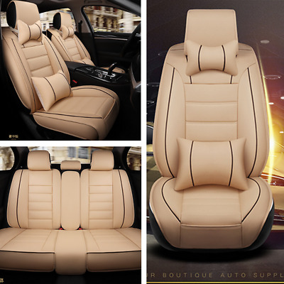 $ CDN156.39 • Buy Deluxe Edition Car Seat Cover Cushion Front+Rear 5-Seats PU Leather W/Pillow Kit