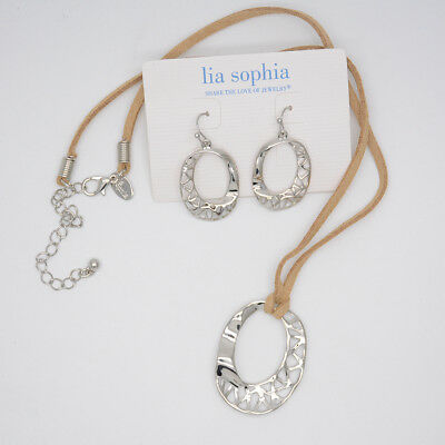 $ CDN10.44 • Buy Lia Sophia Jewelry Polished Silver Twist Pendant Necklace Drop Hoop Earrings