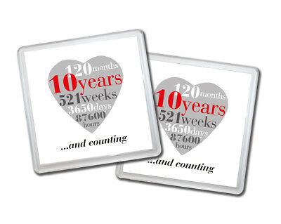 2 X 10th Wedding Anniversary, 10 Years Drinks Coasters Gift For Couple • 5£