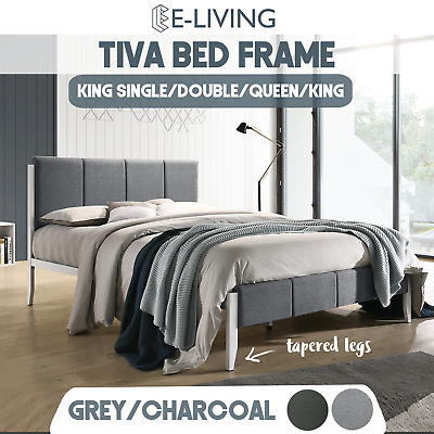AU160 • Buy King Single Double Queen Size Fabric Upholstered Bed Frame In Grey Or Charcoal