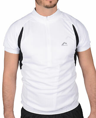£7.99 • Buy More Mile Mens Cycling Jersey White Half Zip Short Sleeve Cycle Top Bike Ride
