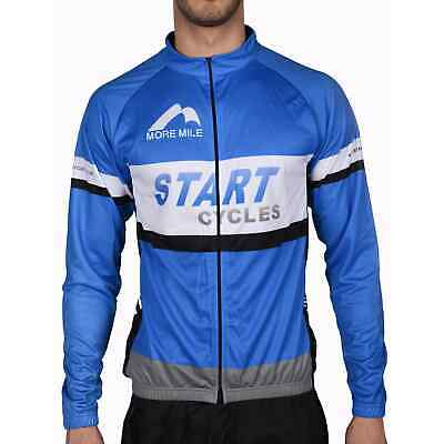£12.99 • Buy More Mile Long Sleeve Mens Cycling Jersey Blue Team Start Cycles Full Zip Top