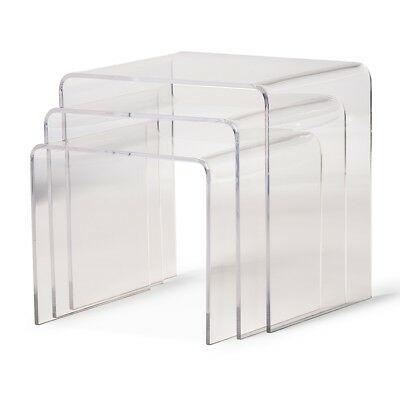 $165.99 • Buy Clear Acrylic Nesting End Side Table 3 Piece Set Modern Display Stands Designer