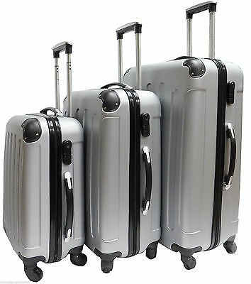 Hard Shell 4 Wheel Spinner Suitcase Set Luggage Trolley Case Cabin Hand SILVER • 32.99£
