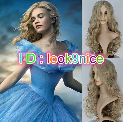 New Movie Princess Cinderella Wig Long Curly Ash Blonde Anime Cosplay Wig • 7.98£