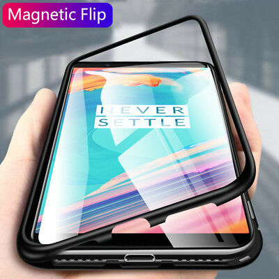 AU9.03 • Buy For OnePlus 7 Pro 5T 6 6T Magnetic Adsorption Metal Tempered Glass Case Cover