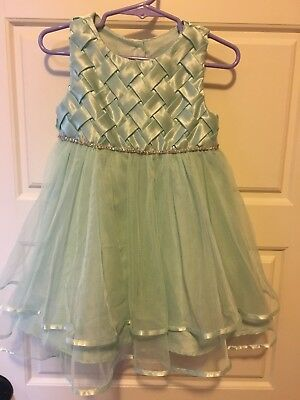 £15.81 • Buy Rare Editions Mint Green Dressy Easter Pagent Dress W/Rhinestone Band Size 2T