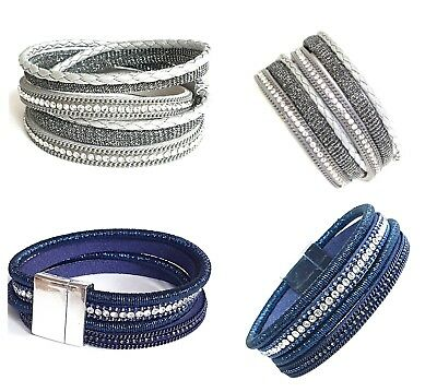 Leather Multi Wrap Around Bracelet Wristband Crystal Effect Gems Magnetic Clasp • 3.90£