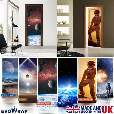 Self-Adhesive Planets & Space Door Wrap (Wall Wood Fridge) Mural Sticker Decal • 25£