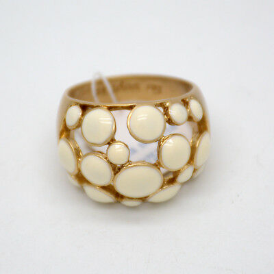 $ CDN11.27 • Buy Size 6 7 8 9 10 11 Lia Sophia Signed Jewelry Matte Gold Plated Beige Enamel Ring