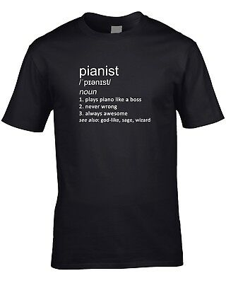 Pianist Definition Mens T-Shirt Music Funny Gift Idea Piano Player Orchestra • 10.95£
