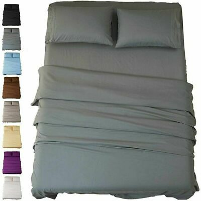 AU34.99 • Buy 1800TC Ultra SOFT - 4 Pcs FLAT & FITTED Sheet Set Queen/King/Super Size Bed New