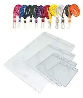 Plastic ID Badge Pocket Wallet And Neck Strap Lanyard PICK A COLOUR! Free P&P • 1.75£