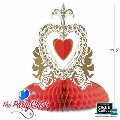 £6.95 • Buy 11  VINTAGE CUPIDS HEART HONEYCOMB TABLE CENTRE Valentines Day Party Decoration