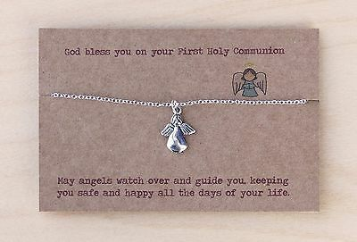 1st Holy Communion Gift For Girl. Necklace Pendant. Cross Or Angel. Christian  • 6.99£
